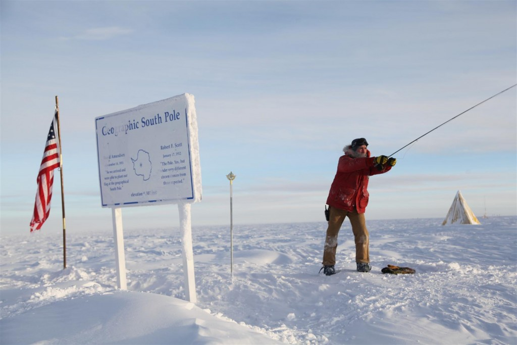 Jared Carrier fly casting at the South Pole