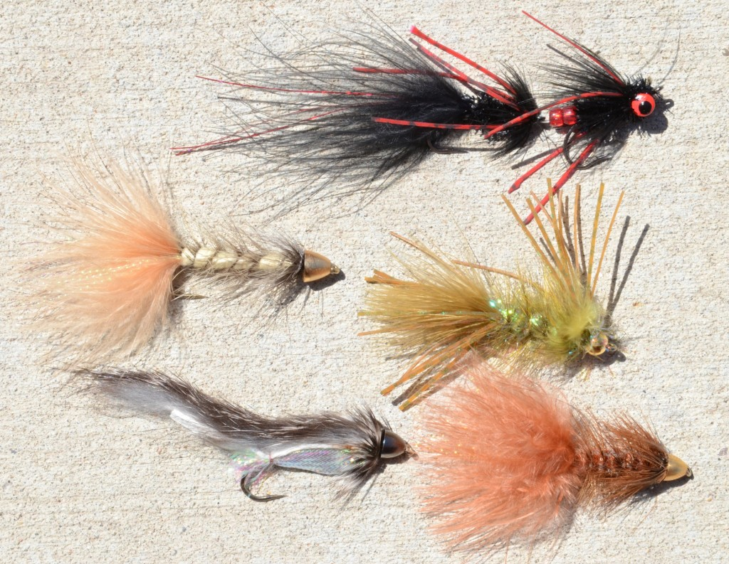 A Bighorn River streamer sampler. The Circus Peanut is on the top.